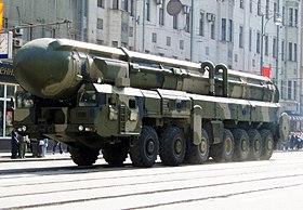 MBR Topol M op de Moskouse parade repetitie.