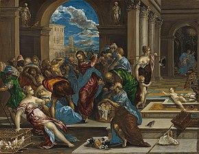 Christus drijft de geldwisselaars uit de tempel (El Greco, Washington)