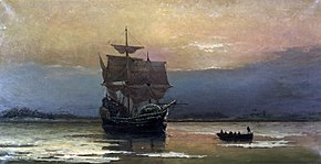 Mayflower nel porto di Plymouth di William Halsall (1882)