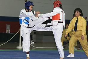 Competitie van Taekwondo.