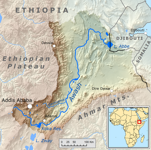 Este mapa da bacia de drenagem do rio Awash mostra o poço geográfico