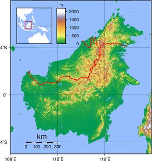Topografie van Borneo