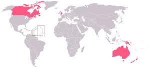Říše Společenství národů, znázorněné růžovou barvou