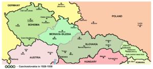 Zakarpattia (lichtgroen) in Tsjecho-Slowakije (1928-1938)