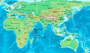 Oostelijk halfrond in 50, in het midden van de 1e eeuw