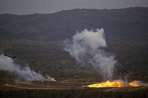 Een Ecuadoraans luchtmacht IAI Kfir vliegtuig laat napalm vallen op een doelbereik tijdens de gezamenlijke Amerikaanse en Ecuadoraanse Oefening BLUE HORIZON.