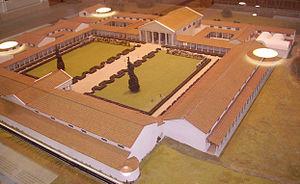 Modèle de musée sur l'apparition du palais romain de Fishbourne