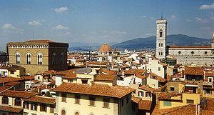 De stad Florence. Afgezien van de koepel bij San Lorenzo in het midden van de foto, is dit uitzicht niet veel veranderd sinds de jaren 1400.