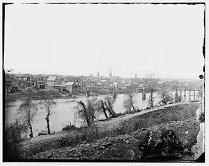 Fredericksburg, Virginia, maart 1863. Uitzicht vanaf de Rappahannock rivier.