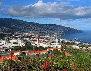 De stad Funchal, hoofdstad van Madeira.