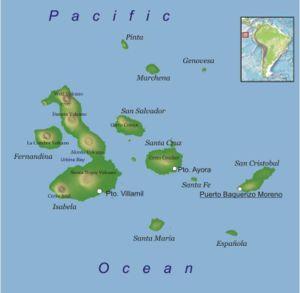Wyspy Galapagos znajdują się w pobliżu Ekwadoru na Oceanie Spokojnym.
