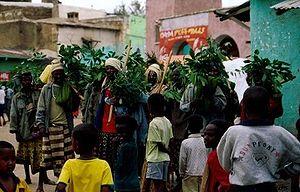 Een regendans die wordt uitgevoerd in Harar Oost Ethiopië.