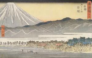 Gezicht op de berg Fuji, deel van de serie Drieënvijftig staties van de Tōkaidō door Hiroshige, gepubliceerd 1850