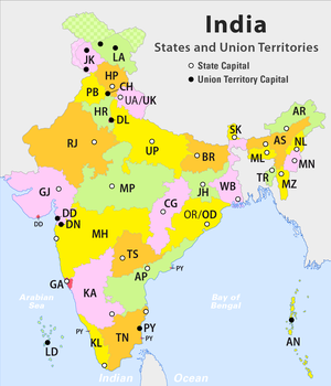 These are the states and territories of India, including 29 states and 7 union territories.