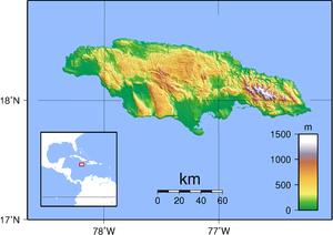 Topographische Karte von Jamaika