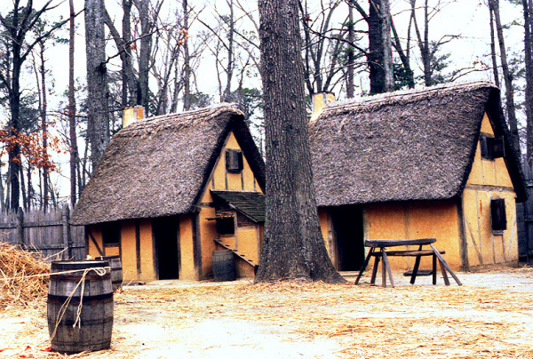 Gereconstrueerde huizen in Jamestown