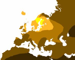 Die Karte der blonden Haare des Anthropologen Peter Frost. Im hellsten gelben Bereich sind blonde Haare am häufigsten anzutreffen (80 Prozent oder mehr der einheimischen Bevölkerung). Je dunkler die Farbe, desto weniger Blondinen. In der dunkelsten Zone gibt es fast keine einheimischen Blondinen.