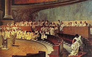 De stichters namen ideeën over van de Romeinse Republiek, met gekozen vertegenwoordigers, benoemde senatoren (foto), veto's, en checks and balances.