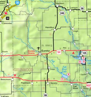 2005 KDOT Kaart van Greenwood County (legende van de kaart)