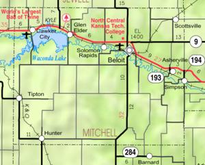 Mapa del Condado de Mitchell del KDOT 2005 (leyenda del mapa)