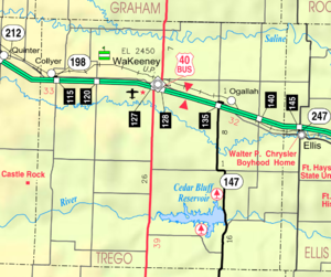 Mapa del condado de Trego del KDOT 2005 (leyenda del mapa)