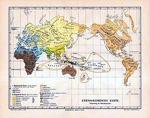 """De 4e editie van Meyers Konversationslexikon (Leipzig, 1885-1890) toont het Kaukasische ras (in blauw) als bestaande uit Ariërs, Semieten en Hamieten. Ariërs worden verder opgesplitst in Europese Ariërs en Indo-Ariërs. De mensen die op deze kaart uit 1890 """"Indo-Ariërs"""" worden genoemd, staan vandaag bekend als Indo-Iraniërs, en het woord """"Indo-Ariër"""" wordt vandaag alleen gebruikt voor de Indo-Iraniërs uit Noord-India."""