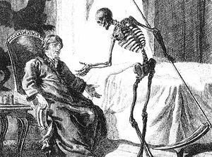 De afbeelding van de Dood als een skelet met een zeis.