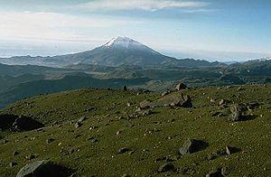Die Spitze eines Berges namens Vulkan Nevado del Tolima
