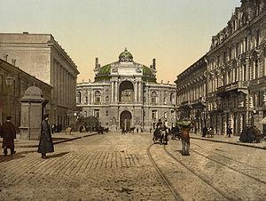 Richelieu Street en het Opera Theater in de jaren 1890.