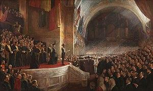 Ein Gemälde zur Eröffnung des ersten australischen Parlaments am 9. Mai 1901, gemalt von Tom Roberts. Australien hat seit den 1850er Jahren eine Demokratie.