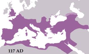 Das Römische Reich in seiner größten Ausdehnung unter Trajan im Jahre 117 n. Chr.