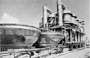 Shevchenko BN350 ontziltingsinstallatie gelegen aan de kust van de Kaspische Zee.