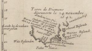 Kaart van Van Diemen's Land uit 1663, waarop de gebieden zijn aangegeven die Tasman heeft gezien, met inbegrip van Storm Bay, Maria Island en Schouten Island.