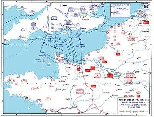 D-day-aanval routes naar Normandië