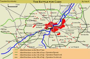 Kaart met operaties in de buurt van Caen