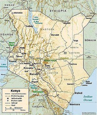 Karte von Kenia mit den wichtigsten Städten, Seen und Bergen.