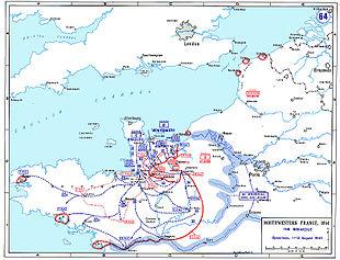 Kaart waarop de uitbraak van het Normandische strandkopje te zien is.