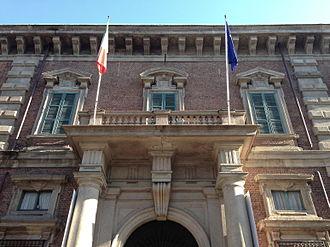 De hoofdingang van het Palazzo Brera