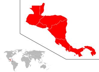 Ameryka Środkowa w kolorze czerwonym
