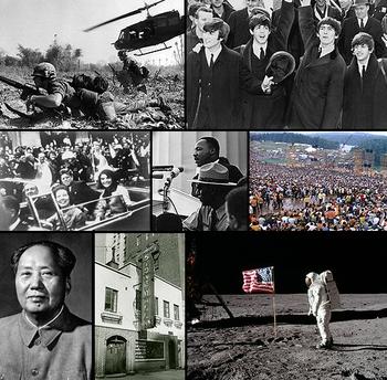 Boven, L-R: Een soldaat kruipt op de grond in de Vietnam-oorlog; The Beatles, onderdeel van de British Invasion, veranderen de muziek in de Verenigde Staten en de rest van de wereld. Midden, L-R: John F. Kennedy wordt vermoord in 1963, na drie jaar  president te zijn geweest; Martin Luther King Jr. houdt zijn beroemde I Have a Dream-speech voor een menigte van meer dan een miljoen mensen; miljoenen mensen nemen deel aan het Woodstock Festival van 1969. Onderaan, L-R: China's Mao Zedong presenteert het Grote Sprong Voorwaarts plan; de Stonewall Inn, plaats van grote demonstraties voor homo- en lesbische rechten; voor de eerste keer in de geschiedenis zet een mens voet op de maan, tijdens de maanlanding van juli 1969