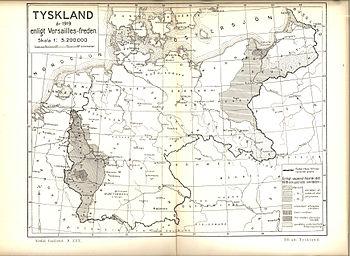 Duitsland 1919 kaart volgens het Verdrag van Versailles