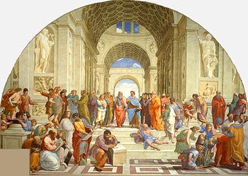 De School van Athene door Rafaël. Dit renaissanceschilderij toont een denkbeeldig tafereel uit het oude Griekenland, met Griekse filosofen, schrijvers, kunstenaars en wiskundigen. Rafaël gebruikte de gezichten van mensen uit zijn eigen tijd. Leonardo da Vinci stond model voor Plato, de filosoof met de witte baard in het midden.