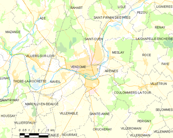 Map of the commune of Vendôme