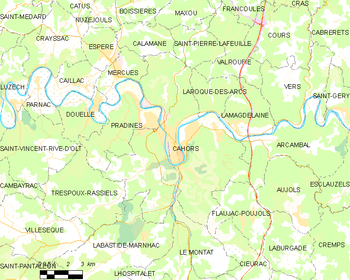 Map of the commune of Cahors