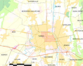 Map of the commune de Tarbes