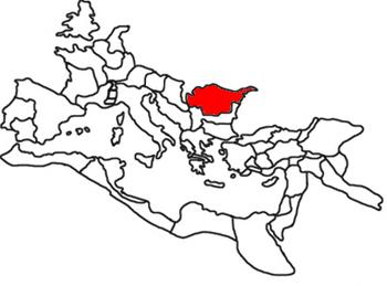 La province romaine de la Dacie en rouge.