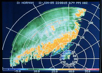Band van onweersbuien gezien op een weerradar display