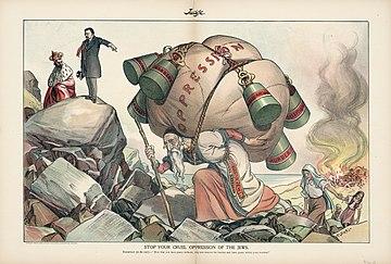 Onderdrukking komt voort uit het concept van bezwaard zijn, en wordt vaak als zodanig getoond. Deze cartoon uit 1904 toont Joodse arbeiders die onderdrukt worden door de Russische Tsaar