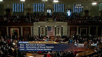 2011年1月5日,第112届国会开幕,众议院会议厅。