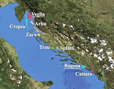 东亚得里亚海上的城市,有达尔马提亚方言。维格利亚是克罗地亚的克尔克岛,克雷普萨是克雷斯岛,阿尔巴今天叫拉布。扎拉是扎达尔市。特劳叫特罗吉尔,斯普拉托是斯普利特,拉古萨是杜布罗夫尼克,卡塔罗是今天的科托尔。